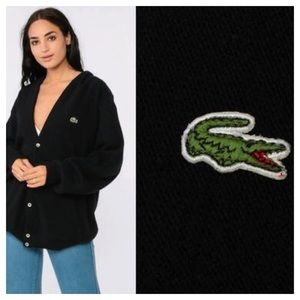 Lacoste Sweater Cardigans Buttons Black Size 8